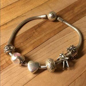 Pandora snake bracelet 20 cm with 6  charms